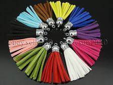 Colorful Soft Velvet Korea Frosting Cord Tassel Trim Silver Plated Pendant 55mm