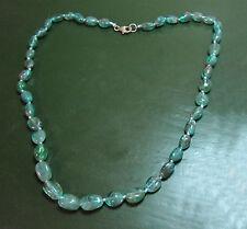 Sehr schöne APATITKETTE große Steine neonblau • 46 cm Apatit-Kette 925 Silber