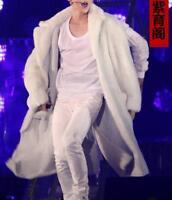 Mens Winter Long Fur Coat White Rex Rabbit Fur Parkas Back Slit Furry Overcoat