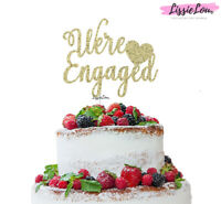 LissieLou We're Engaged with Heart Cake Topper Glitter Card Made in the UK