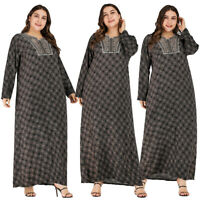 Dubai Muslim Women Maxi Dress Abaya Print Vintage Long Robe Kaftan Gown Jilbab