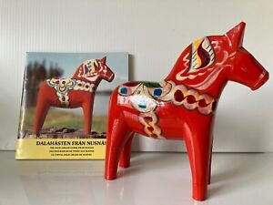 Vintage Authentic Swedish Dala Horse Wooden hand painted Horse 8""