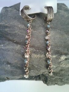 Free People Dangling Earrings Antique Gold Tone Multi Color Gems MSRP $40