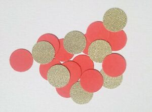 Handmade Circle Table confetti In Coral And Gold Glitter