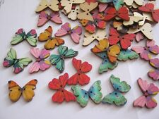 Wooden Decorated & Shaped Buttons - 16 per pack **NEW**  BUTTERFLIES