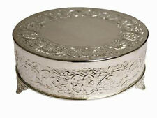 "18"" Silver Round Cake Plateau"