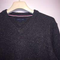 Tommy Hilfiger Traditional Men's V-Neck Jumper Wool Spun Sweater Size Large