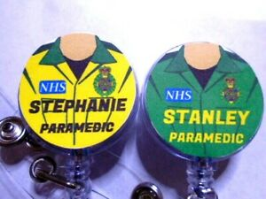 PERSONALISED Name Retractable ID Card Badge Reel Pass Holder Paramedic Ambulance