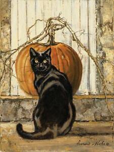 Art Print, Framed or Plaque by Bonnie Mohr - Black Cat - COW327