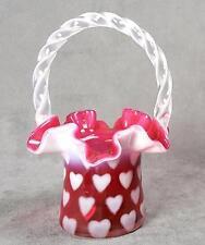 Fenton Cranberry Ruffled Opalescent Heart Hat Basket Vintage