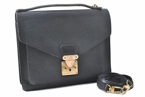Louis Vuitton Epi Monceau Shoulder Hand Bag 2Way Briefcase Black M52122 LV A6291