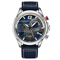 Stuhrling 908 02 Aviator Quartz Chronograph Date Blue Leather Mens Watch