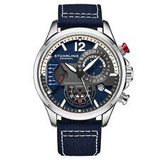 Stuhrling 908 02 Aviator Quartz Chronograph Date Blue Leather Mens Watch