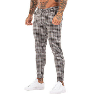 GINGTTO Men Chinos Trousers Skinny Super Stretch Slim Fit Casual Plaid Pants