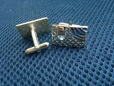 Vintage Pair Of Yellow Gold Colour Quality Cufflinks With Crystal Cuff Links [.]