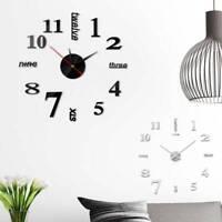 Horloge murale bricolage 3D miroir mode autocollant mural salon décor maison
