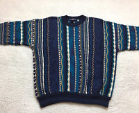 Vintage 90s Cotton Traders Mens MEDIUM Cosby Biggie Heavy Sweater Blue Gold 3D