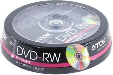 10 x TDK Blank DVD-RW Disc (4x 120min 4.7GB) Video/Data DVD Re-Writable
