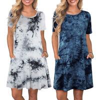 Women's Tie Dye Summer Casual T-Shirts Dresses Short Sleeve Loose Beach Sundress