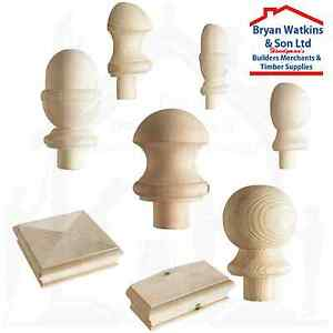 Solid Pine Stair Newel Post Caps, Ball Caps, Acorn, Pyramid, Mushroom, Half Caps