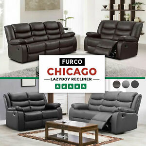 CHICAGO LEATHER SOFA RECLINER SUITE BLACK BROWN GREY 3 + 2 + 1 SEATER SET