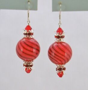 *IAJ* STERLING SILVER Earrings RED BLOWN GLASS ORNAMENTS w/ SWAROVSKI CRYSTALS