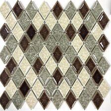 Diamond Crackled Finish Glass Multi Color Mosaic Tile Kitchen Backsplash Wall