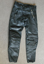 Mens Trousers HESTRU Biker 100% Black Leather Vintage Motorcycle Racer Size 50