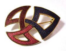VINTAGE gioielli dell'era Maji Smalto Rosso, Blu & Rosa Spilla Celtica Infinito