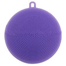 Purple Round Silicone Soft Scrubber Wash Dish Clean Brush Antibacterial Kitchen