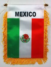 MEXICO MINI BANNER FLAG GREAT FOR CAR & HOME WINDOW MIRROR HANGING 2 SIDED