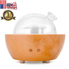 100ml Glass Dome Essential Oil Diffuser 7Led Color Real Wood Base Air Humidifier