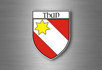 Sticker decal souvenir car coat of arms shield city flag switzerland thun