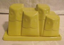 EXCELLENT West Elm Pottery Owl Shaped Covered Butter Dish Yellow Dinnerware
