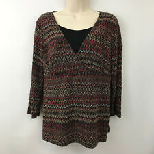 Notations Womens Blouse Medium Layered Multi Color Geo Print Blouse Top A Line