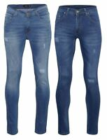 Mens Slim Fit Skinny Stonewash Blue Navy Jeans Smart Casual Washed