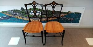 Set 2 antique Victorian ebonised caned cane seat chair chairs shell inlay PAIR