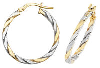 9 carat Yellow White Gold Double Colour Multi-Tone Ladies Hoop Earrings NEW
