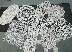 9 Vintage Hand Crochet/ Lace Doilies and Mats
