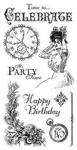 Graphic 45 Time to Celebrate Stamp Set #1 Birthday Elegance Steampunk Retro