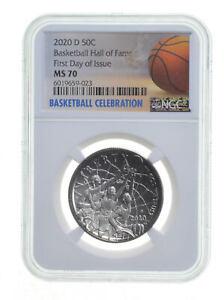 2020 D Basketball Hall Of Fame Half Dollar Coin MS70 NGC FDOI *0491