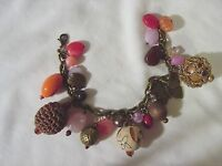 PINK Assorted Shades Beads CHARM BRACELET Beaded Antiqued Gold Metal Link New