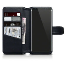 Genuine Real Leather Wallet Stand Case for Samsung Galaxy S8 - Black