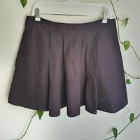 Cue Black Pleated Full A-Line Thick Lined Mini Skirt 14 L Work Classic Made Aus