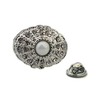 Pearl Dance Brooch, Crystal Silver Design with Flux Pearl Tie Tack Desig Brooch