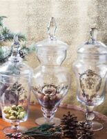 Victorian Trading Co 3 Baroque Apothecary Glass Jars