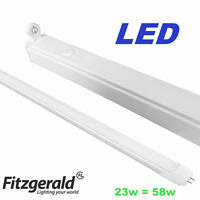 Fitzgerald 5ft 58W T8 Single Florescent Strip Light Batten + LED Cool White Tube