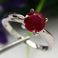 NATURAL 7 mm. ROUND CUT RED RUBY RING 925 STERLING SILVER