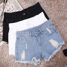 Women Summer Ripped Womens High Waisted Denim Shorts Jeans Hot Pants NEW