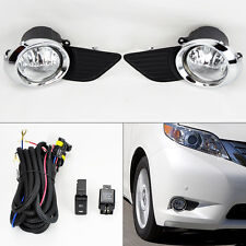 Toyota Sienna 2011-2015 Bumper Chrome Fog Lights Kit & Wiring Switch Pair RH LH